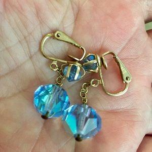 Vintage dangling clip earrings blue crystal